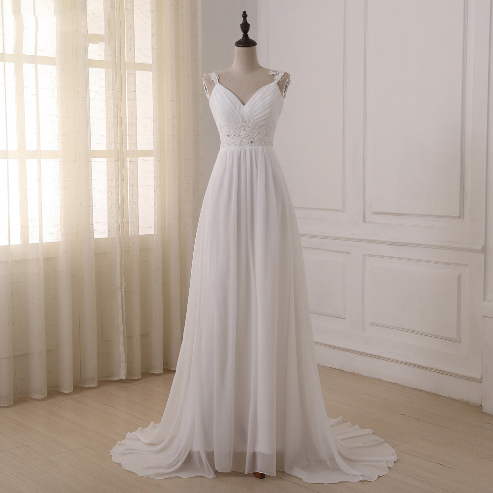Jiayigong Beach Wedding Dress vestido de noiva In Stock Plus Size Spaghetti Straps Beading Chiffon Wedding Gowns Bridal Dresses