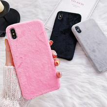 Pluizige Case voor iPhone 11 Pro Max Case Winter Warm Teddy Bont Harige Fuzzy Pluche Case voor iPhone X XS max XR 6 6S 7 8 Plus Cover(China)