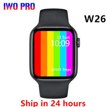 Iwo pro w26 relógio inteligente 2020 series 6 bluetooth chamada monitor de freqüência cardíaca temperatura à prova dpk água smartwatch pk x16 fk88 hw12 max