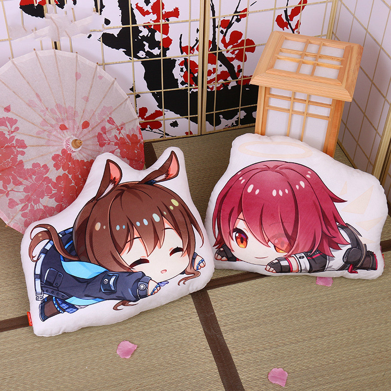 45cm Arknights Pillow Toy Game Texas Exusiai Lappland SilverAsh Ifrit Stuffed Plush Doll Double Sided Cushion