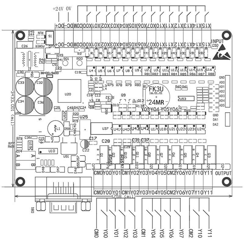 DC24V FX1N FX2N FX3U-24MT PLC الصناعية لوحة تحكم 6AD 2DA 14 المدخلات 10 الترانزستور الناتج RS485 RTC الاتصالات مع قذيفة