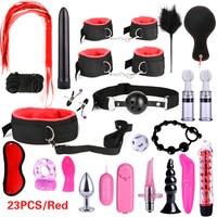 23pcs Sex Toys voor Volwassen g-spot Vibrators Volwassen Spel SM Bondage Terughoudendheid Volwassen speelgoed Nylon Handboeien Clit stimulator Sexshop