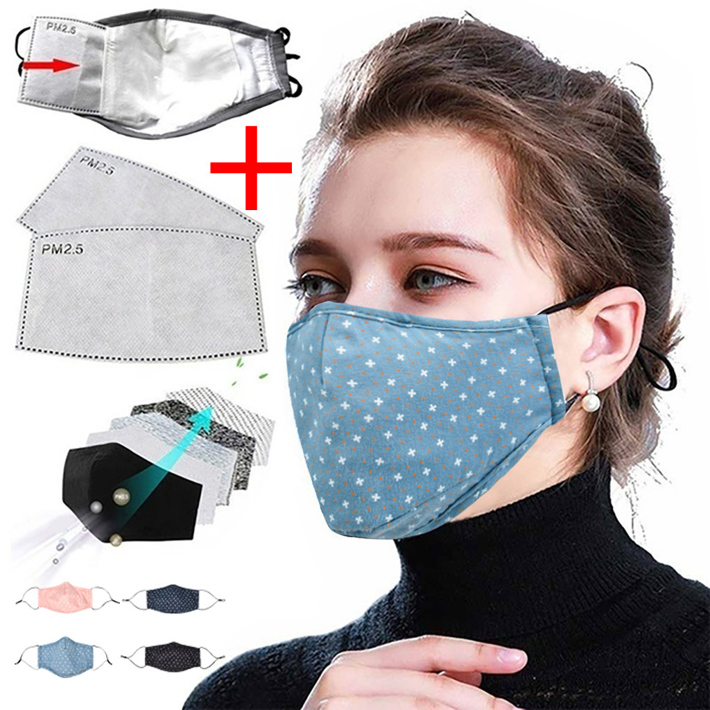 Унисекс смываемая маска хлопчатобумажный пылезащитный многоразовый регулировки печати маски 2 фильтры многоразовые крышки рта модные тка...