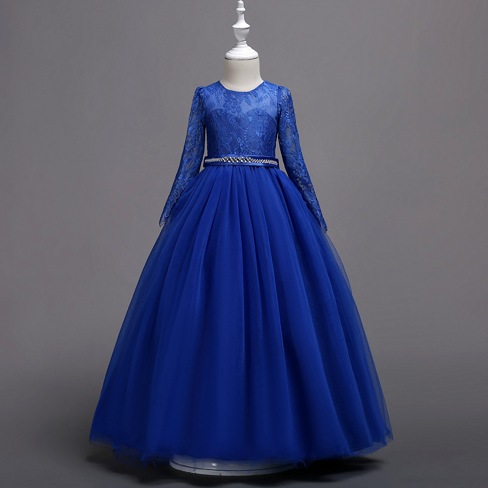 2019 Europe And America Hot Selling Middle And Large Children Long Sleeve Lace Formal Dress Princess Dress School Performance Ho