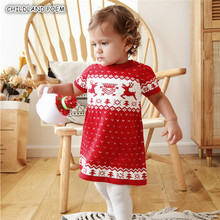 Knitted Baby Dress Christmas Baby Girl Clothes Deer Baby Gir