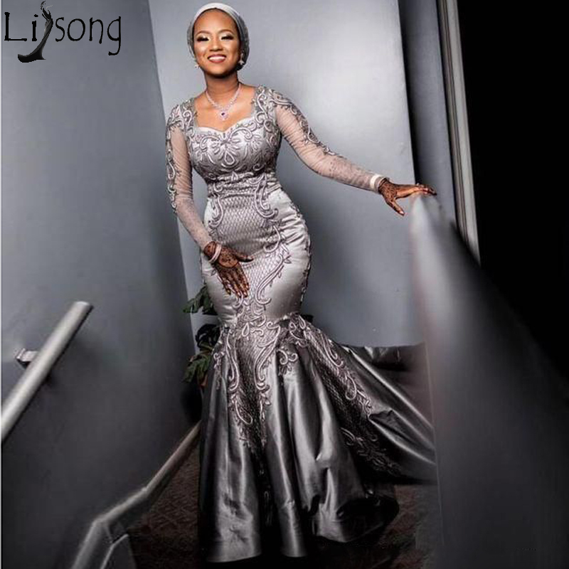 Silver Sexy 2019 African Evening Dress Lace Mermaid Long Sleeves Prom Dresses Cheap Formal Party Pageant Gowns Robe De Soiree