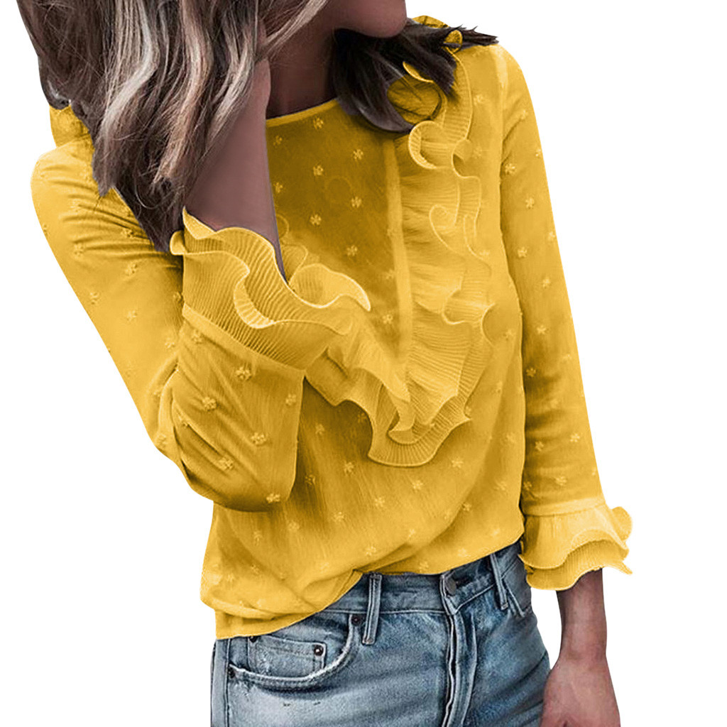 Women's Shirts With Long Sleeves Ladies Casual Lace Polka Dot O Neck Shirts Long Sleeve Tops Blouse 2020 Women Fashion Love