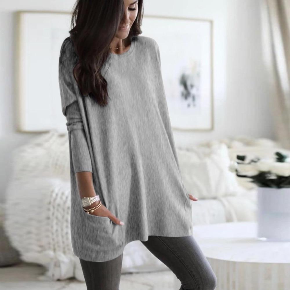 Womens Solid Warm Long Sleeve Sweatshirt Loose Pocket Daily Pullover Tops #4O08 (35)