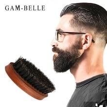 GAM-BELLE 1Pc Natural Boar Bristle Beard Brush for Men Shaving Brush Works To Comb Mustache Beech Handle Beard Shaping Tool