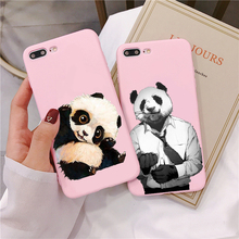 Matte Candy Pink Silicone Case For iPhone 7 8Plus 6 6SPlus Cute little panda X XR XS MAX High quality print