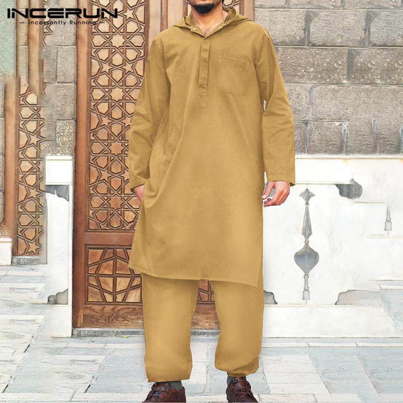 Men Muslim Sets Long Sleeve Hooded Kaftan Drawstring Pants 2 Pieces Solid Color Middle East Islamic Arab Men Suits 5XL INCERUN 7