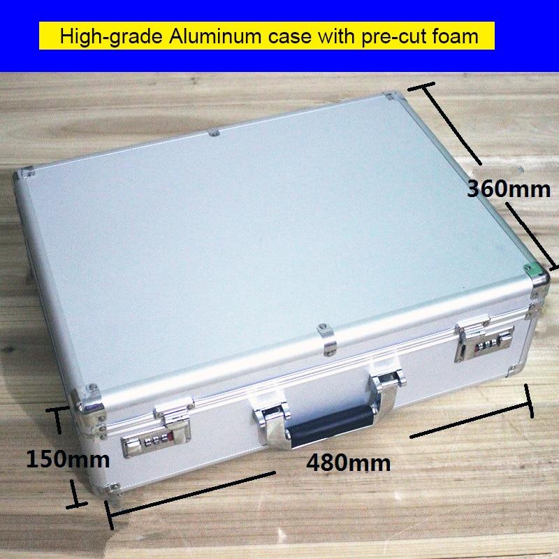 Boîtier en aluminium de haute qualité boîte à outils boîte à outils 47*35*14 cm boîte forte mètre valise pochette pour document étui à instruments avec serrure valise