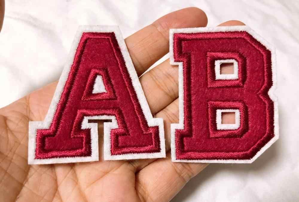 Rode Geborduurde Iron On Letters Of Cijfers Applique Patch, Ijzer Op Naam Letters Patch Voor T-shirt Of Jas, decoratie Iron Op Patc