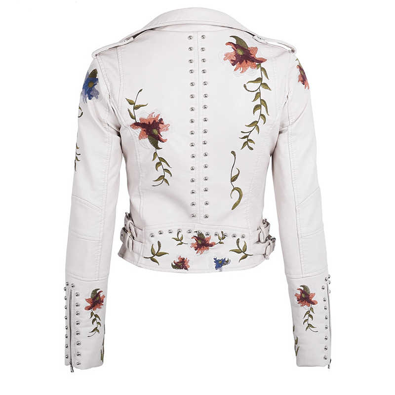 Women Faux Leather Jacket Floral Print Embroidery Pu Motorcycle Coat Turn-down Collar Short Black Punk Biker Outerwear