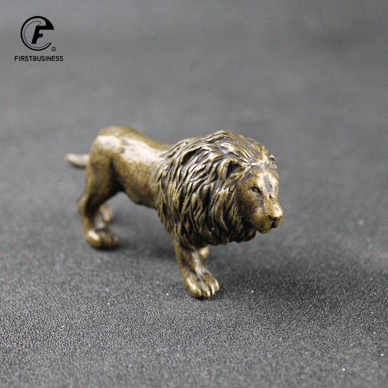 Antique Bronze Male Lion King Statue Small Ornaments Solid Copper Mountain Lions Miniature Figures Brass Sculpture Crafts Decor