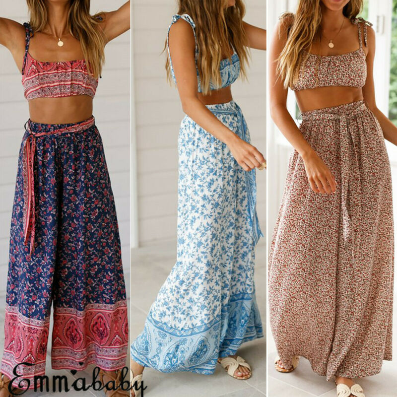 2020 Summer Women Boho Wide Leg Palazzo Casual Pants Ladies Summer Holiday Beach Casual Trousers