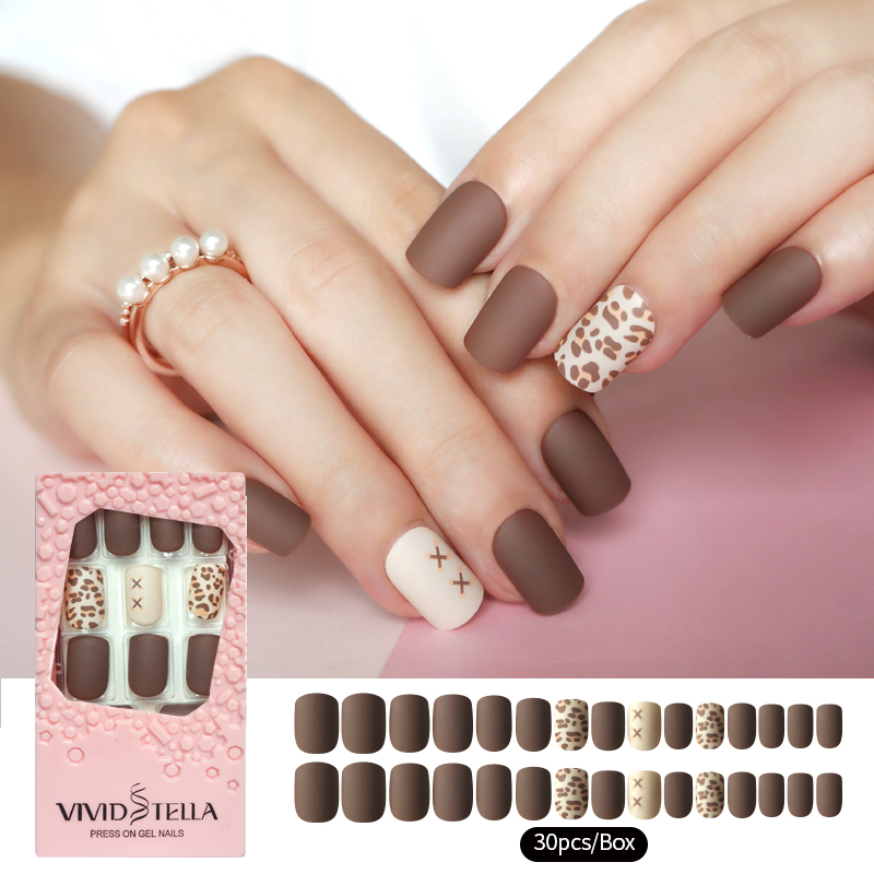30PCS Matte Press on False Nails in Pink Box Pre-glue Leopard Short Fake Nails DIY Manicure Beauty Women Nail Tools