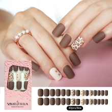 30PCS Matte Press on False Nails in Pink Box Pre-glue Leopard Short Fake