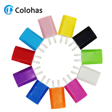 Hot selling Colorful Travel Wall Charging Charger Power Adapter European/USA Plug USB AC For Apple iPhone 5 5S 4 4S 3GS iPod цена