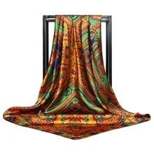 Fashion Silk Satin Hijab Scarf For Women Paisley Print Kerchief Head Scarfs Female 90*90cm Square Shawls Wraps Scarfs For Ladies square scarf with paisley print
