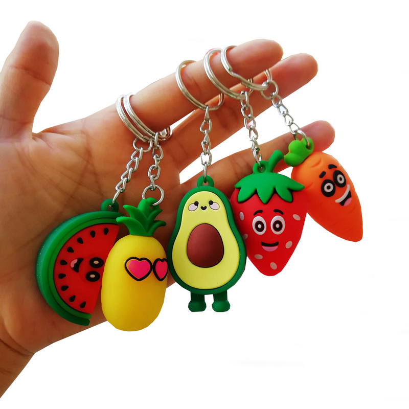 Simulation 3D Avocado Keychain Girl Heart Simulation 3D Avocado Keychain Bag Coin Purse PVC Soft Toy Pendant
