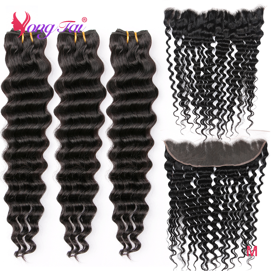 YuYongtai Hair Deep Wave Brazilian Hair 13*4 Lace Front Human Hair 3 Bundles With Front Non-Remy Weave M