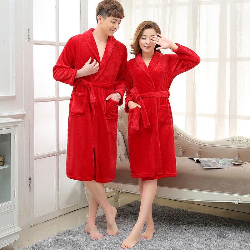 New Arrival Men Women Luxury Silk Flannel Winter Spa Bathrobe Mens Long Kimono Bath Robe Male Bathrobes Warm Night Dressing Gown