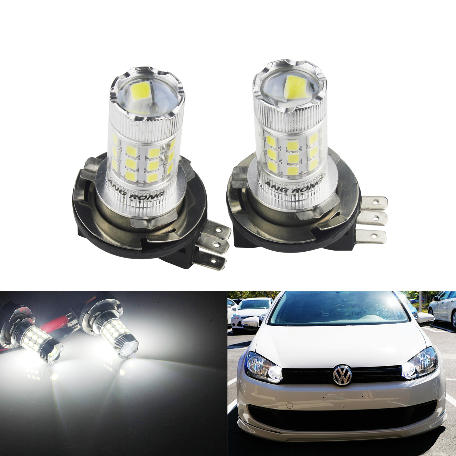 ANGRONG H15 LED <font><b>Bulb</b></font> 30W Headlight <font><b>Daytime</b></font> <font><b>Running</b></font> <font><b>Light</b></font> For VW Golf GTI MK6 MK7 Caddy Audi Q7 Mercedes Benz <font><b>BMW</b></font> F22 image