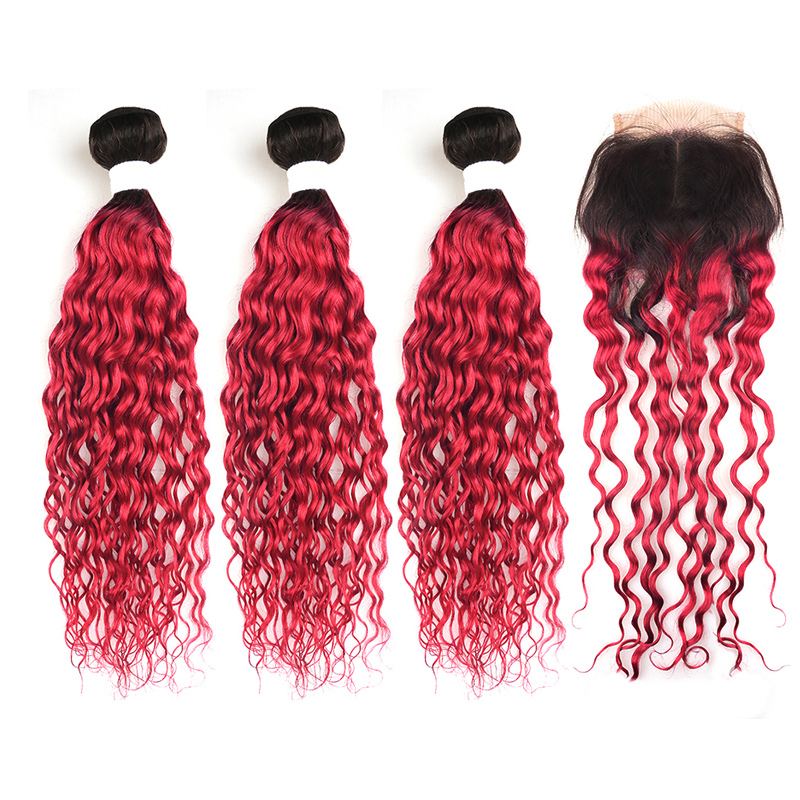 1B/99J Burgundy Brazilian Water Wave Human Hair Bundles With Lace Closure 4*4 Ombre Red Hair Weaving KEMY HAIR Non-remy 3PCS