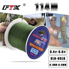 FTK 114 м плетеная проволока ПЭ плетеная 0,4#-6,0# код 4 нити 8-60LB ПЭ плетеная 0,1-0,4 мм многофиламентная рыболовная леска для морской воды