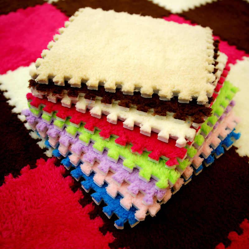 新 25*25 センチメートル子供カーペットの泡のパズルマット EVA シャギーベルベットエコ床 9 色リビングルーム Tapetes パラカササラ