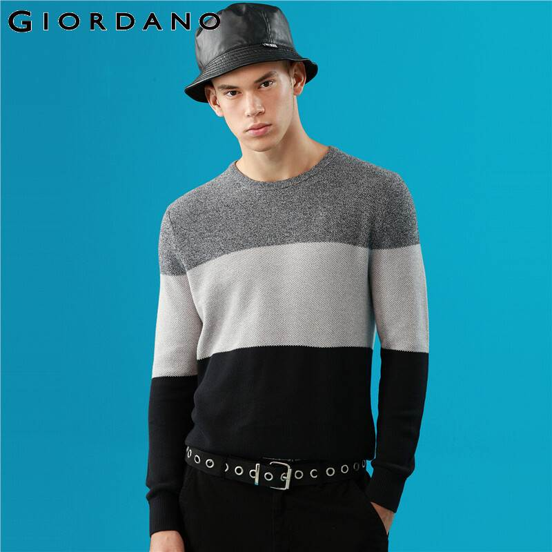 Giordano Men Sweaters Contrast Crewneck Long Sleeve Knitted Pullover Ribbed Cuffs And Hems Blusa De Frio Masculino 90059881