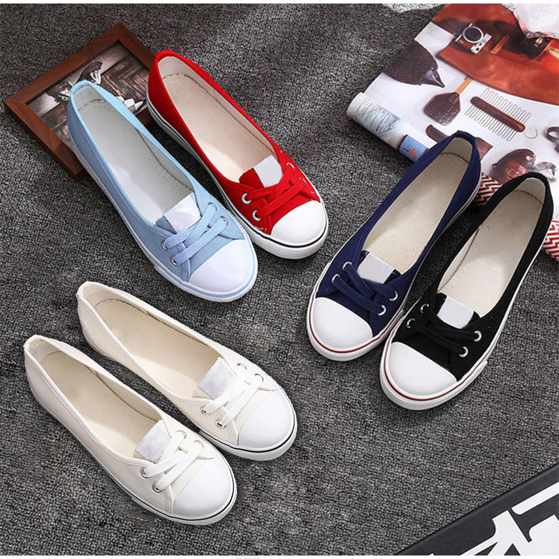 2020 Women Flats Vulcanized Loafers Female Canvas Sneakers Slip On Shallow Ladies Round Toe Woman Women's Footwear Spring