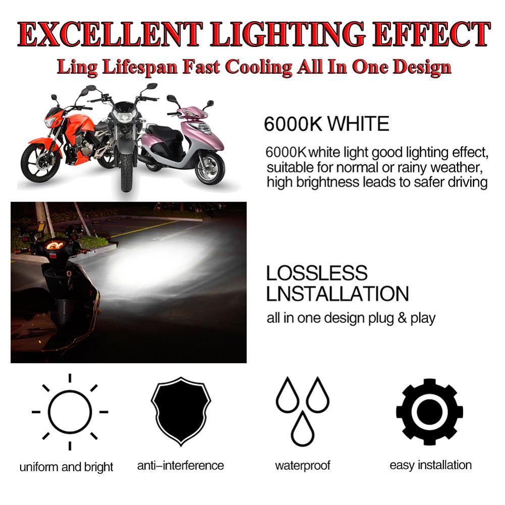 Motorcycle Headlight Bulbs H4 White 36W LED Lamps COB 6000K Motor Bike DC 12V Headlamp 4
