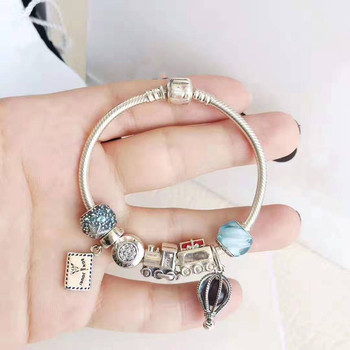 Quality Original 1:1 100%925 Sterling Silver Hot Air Balloon Locomotive Bracelet Free Shipping