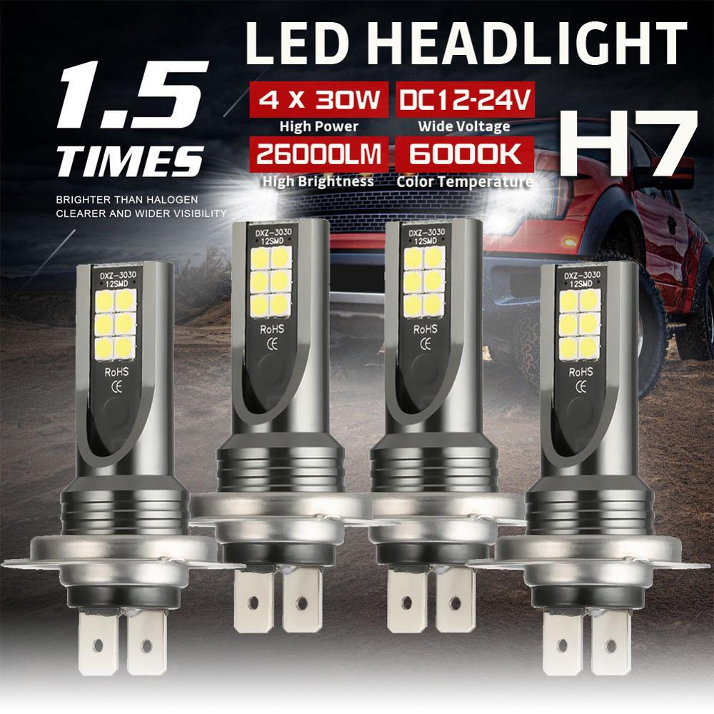4 pçs h7 carro cob led farol lâmpadas DC12-24V 26000lm 6000k branco auto alta baixa lâmpada feixe