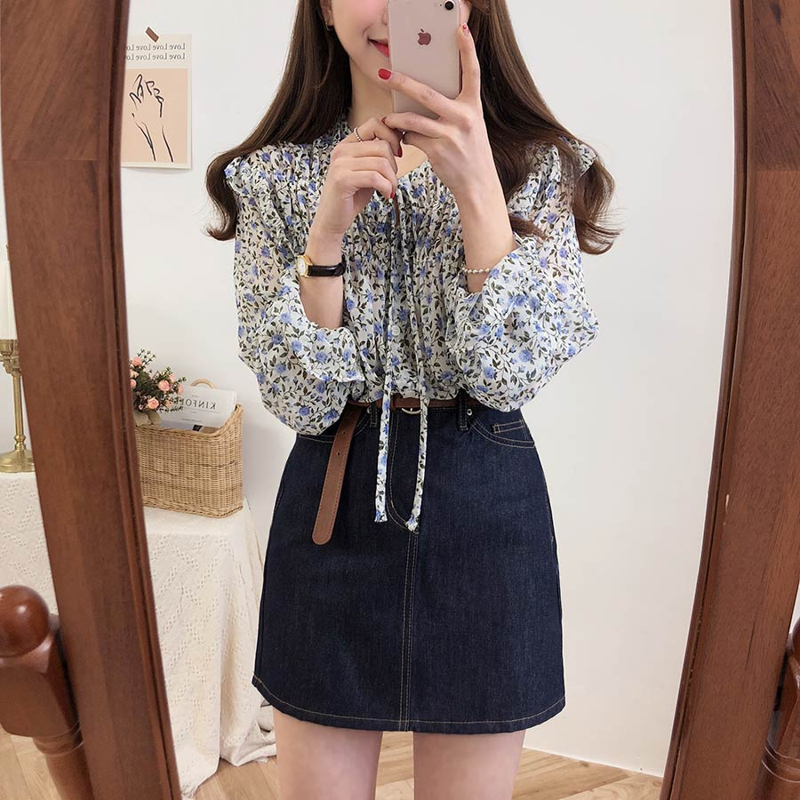 H91f847d61bd04daea0dde3c4c22f6139q - Spring / Autumn Lace-Up Collar Long Sleeves Floral Print Blouse