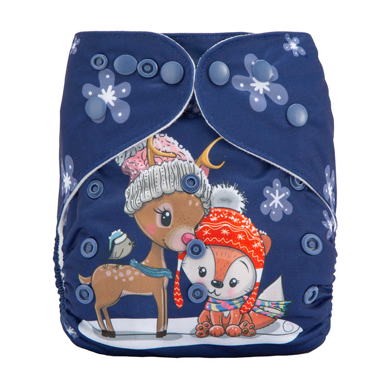 한 사이즈 포켓 기저귀 한 여우와 새끼 사슴 해군 파란색 천 기저귀 도매 유기 아기 천 기저귀 DYX13
