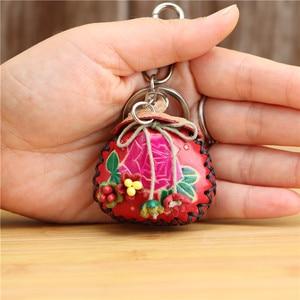 Bolsa de couro criativo artesanal, pingente vermelho, abençoamento, chaveiro, mini saquinho, enfeite, acessórios, presente