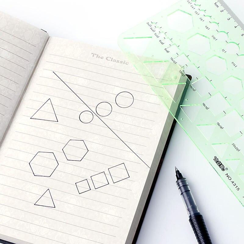 Plastic Circle Square Hexagon Geometric Template Ruler Stencil Measure Tool NEW
