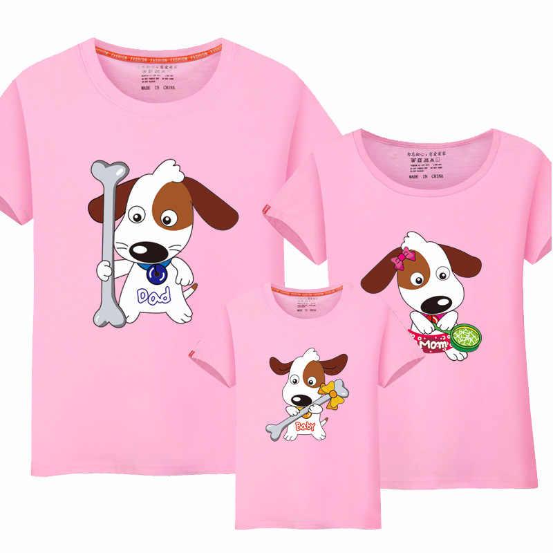 Famili olhar irmãs mãe e filho e pai t camisa combinando casal roupas de moda coreana para as mulheres 2020 mommy e me topo