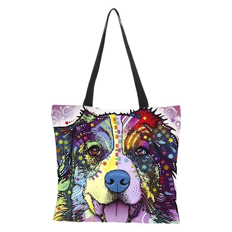 Women/'s Dog Printed Linen Tote Bag Large Capacity Shoulder Bag Shopping Bag