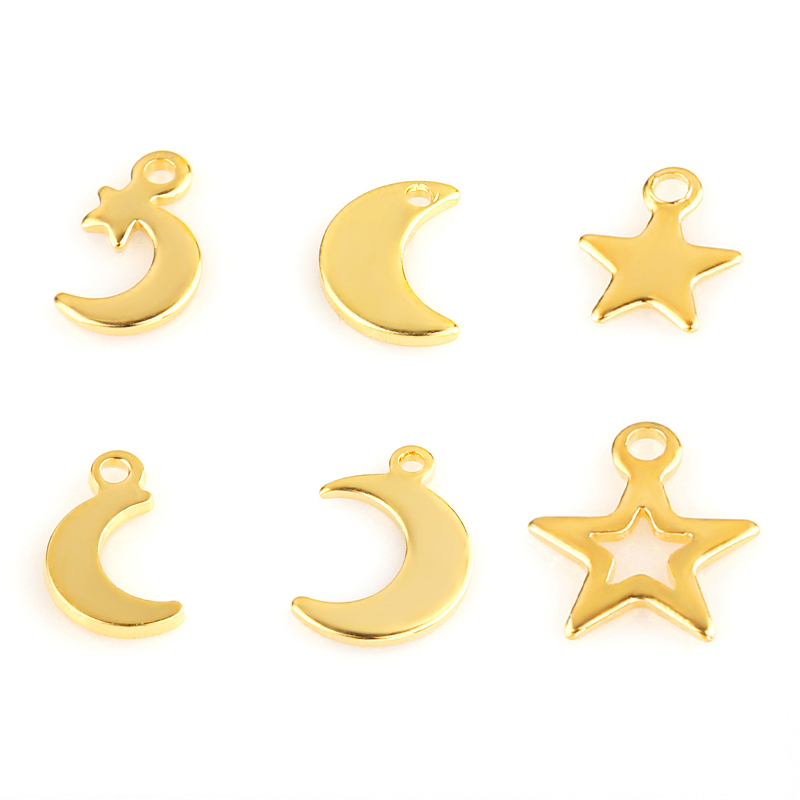 20pcs Stainless Steel Moon Star Pendant Animal Charms for DIY Jewelry Making Necklace Earring Bracelet Decoration Tail Charm Tag