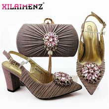 African Sandals with Matching Bag for Woman Pointed Toe Shoes and Purse Set High Quality Italian Wedding Pumps in Pink Color