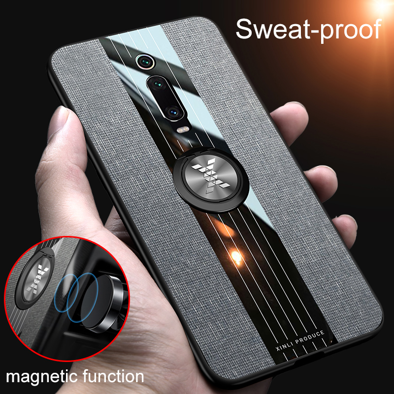 For Xiaomi Mi 9T Mi9T Pro Magnetic Finger Ring Holder Leather Case for Xiomi Redmi K20 Pro Matte Silicone Back Cover On K 20 9 T(China)