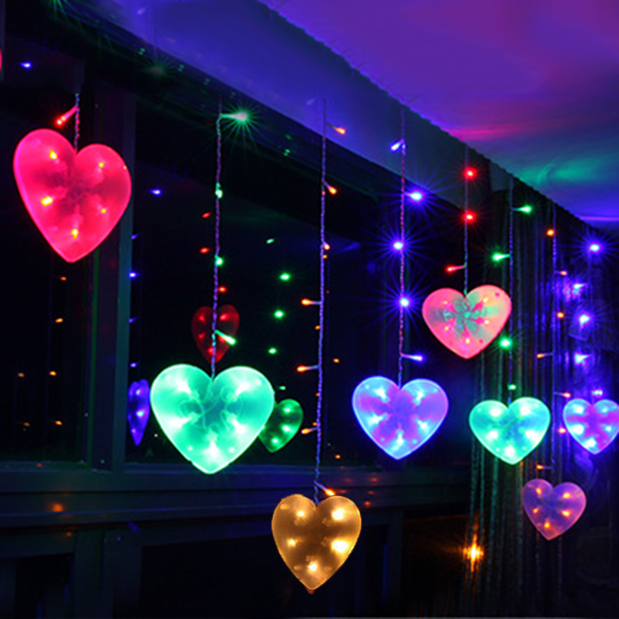 Thrisdar 3*0.65M 120 LED Love Heart Curtain Fairy String Light Christmas Window Curtain Icicle Light For Wedding Party Holiday