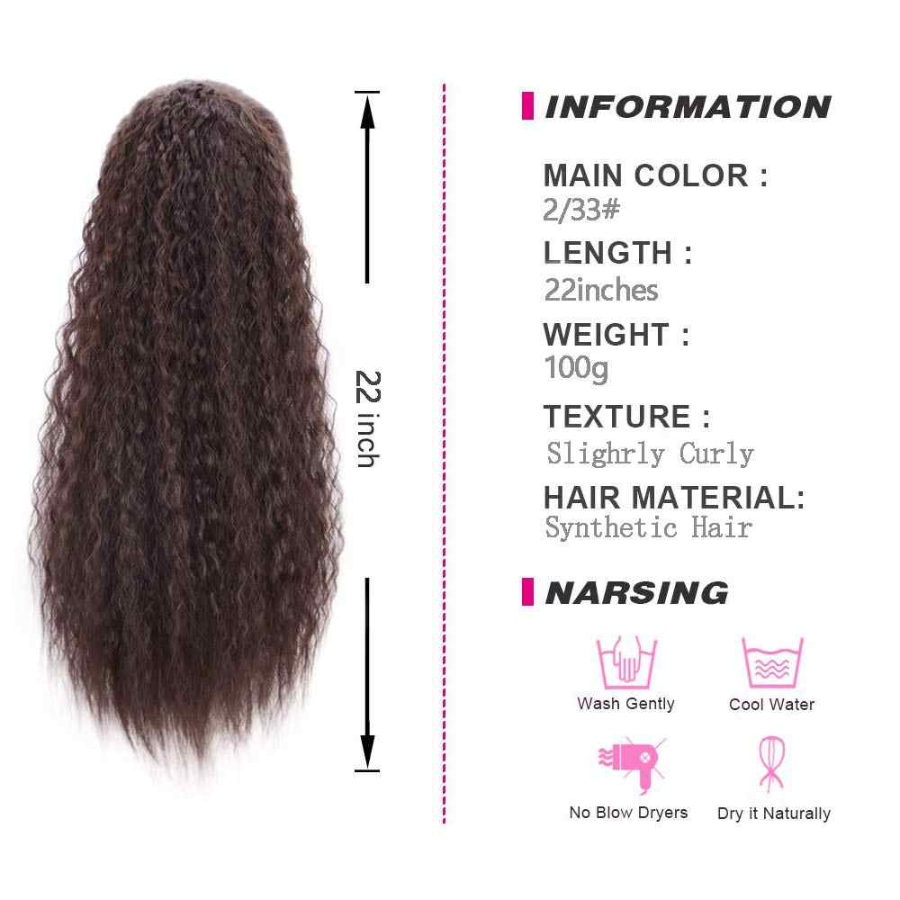 Synthetic Long Corn Wave Drawstring Ponytail Extension Clip in Claw Hair Extensions Hairpieces For Women Dark Brown Color