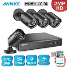 ANNKE 1080P 4CH CCTV 홈 카메라 시스템 5in1 1080N H.264 + DVR 2X 4X TVI 스마트 IR 총알 비바람에 견디는 보안 감시 키트