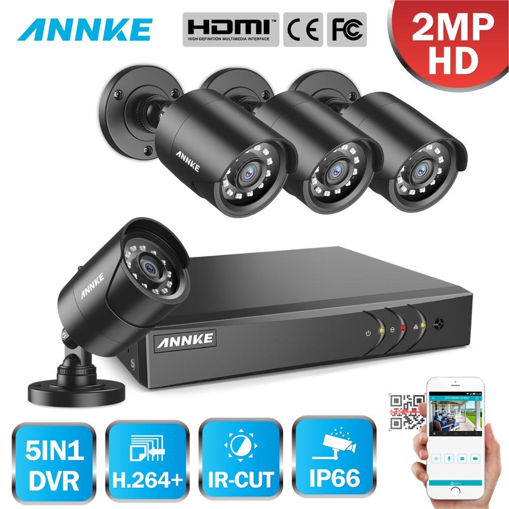 ANNKE 1080P 4CH CCTV Home Camera System 5in1 1080N H.264+ DVR 2X 4X TVI Smart IR Bullet Weatherproof Security Surveillance Kit
