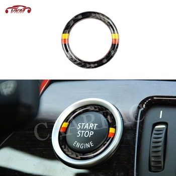 Carbon Fiber Car Engine Start Stop Ignition Button Decoration Ring Trim Sticker For BMW 3 Series E90 E92 E93 E89 Z4 2009-2012 image